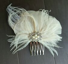 Bridal Comb, ivory Hair Clip, Wedding Headpiece, feather comb, bridal comb