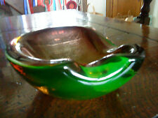"MURANO URANIUM CASED ART GLASS BOWL 2.5"" TALL X 5.5""WIDE VERY GOOD CONDITION"