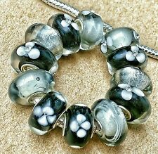 12P Solid Black Flowers Silver Sparkles Single Core European Murano Glass Beads