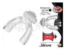 Vibrating Clear Tongue Vibrator Vibe Oral Finger Pleasure Nipple Stimulator Toy