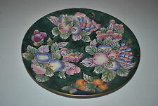 ANDREA  by SADEC Collector Decorative Plate FRUIT Enamel Cloisonne Style Gold