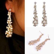Pearl Rhinestone Crystal Dangle Chandelier Earrings Women's Lady Jewelry Gift