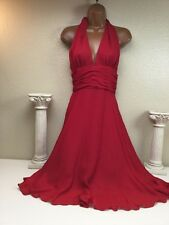 Mannequines 100% Silk Red USA Halter Dress Size 6 Marilyn Monroe Vintage Look