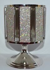 BATH BODY WORKS SPARKLY SILVER PEDESTAL LARGE 3 WICK CANDLE HOLDER SLEEVE 14.5OZ