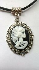 Gothic Lady Vintage skull Black & White Cameo black wax cord necklace / choker