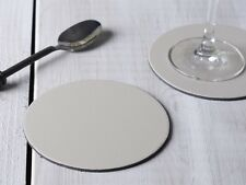 Set of 6 STONE GREY Round Leatherboard COASTERS