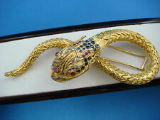 EXQUISITE LALA0UNIS 18 K. LARGE DRAGON BROOCH  DIAMONDS RUBY SAPPHIRES 41.2 GRAM