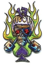CYCLE SKULL Embroidered IRON-ON PATCH Von Franco *Free Shipping biker punk vfp03