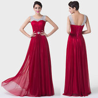 Sexy Womens Prom Long Evening Dark Red Gowns Cocktail Maxi Wedding Dress Sz 6-20