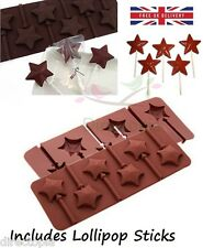 Silicone 6 Star Shaped Chocolate Fondant Lolly Lollipop Bake Ware Mould Kawaii