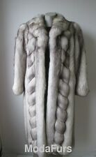 Women's Sz 6 Natural Norwegian Blue Fox Fur Coat MINT