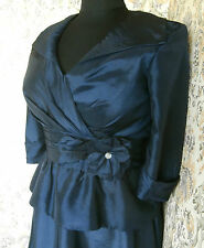 Stylish dark blue party wedding outfit dress by MERLE Size 12 Made in Hong Kong
