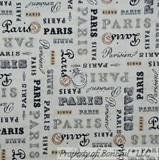 BonEful Fabric FQ Cotton Quilt Black Gold Cream Paris French Shabby Chic Word US