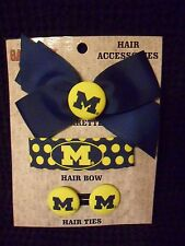 Michigan Wolverines Barrette Hair Bow Hair Ties 4 Piece Hair Accessory Set New