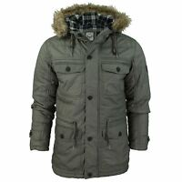 Mens Parka Quilted Jacket 'Harvey' Brave Soul Oil Cotton Fur Trim Hooded Coat