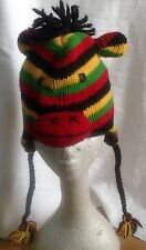 Knitted rainbow color  animal hat, 100% Wool with Fleece Lining