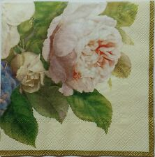 FAIRY ROSE TWO(2) single LUNCH SIZE paper napkins for decoupage 3-ply ihr