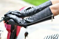 """40cm(15.7""""long side visible zipper real leather evening gloves leather gloves"""