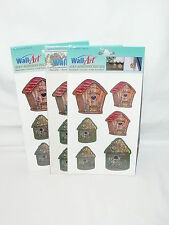 Wall Art Self Adhesive Decals Birdhouses Washable Fade Resistant Lot of 3 New