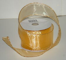 """SHEER SPUN GOLD Wired Ribbon 2 1/2"""" by 25 Feet New in Pkg"""