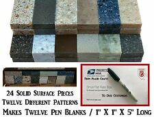 """Solid Surface Material for Pen Blanks / 24 Pieces - 1"""" Wide X 5"""" Long / #PB-018"""