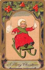 CHRISTMAS HOLIDAY CHILD BABY SLED EMBOSSED PFB POSTCARD 1910