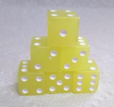 DICE - 16mm GLOW-IN-DARK *LEMON YELLOW* w/WHITE PIPS - LIGHTS OUT? HERE YOU GO!