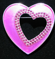 SIGNED KC PINK RHINESTONE HAPPY VALENTINES DAY HEART LOVE PIN BROOCH JEWELRY