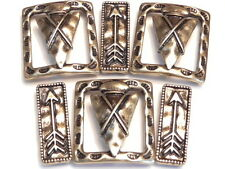 6 - 2 HOLE SLIDER BEADS BRASS NATIVE INDIAN SOUTHWESTERN ARROW HEAD & ARROWS