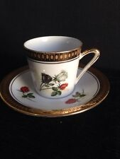 gold rimmed coffee cup can Damask Espresso saucer reds white black rose vinta