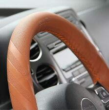 Brown PVC Leather Steering Wheel Wrap Cover w/Needle Thread DIY Fiat Ram Charger