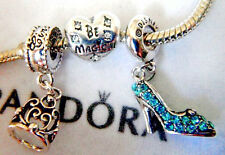 CINDERELLA SLIPPER SHOE CROWN CHARM DISNEY BE MAGICAL CRYSTAL FREE PANDORA POUCH