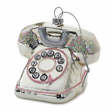 TELEPHONE Vintage-rotary Glass Ornament sparkling Accents Christmas Decor NEW