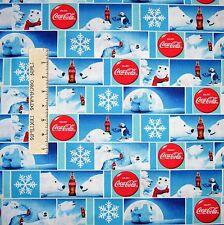 Coca-Cola Fabric - Coke Polar Bear Blocks Blue - Print Concepts YARD