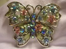 Big Vintage Pastel Rhinestone Enamel Flower Butterfly Pin Brooch Greens Blues AB