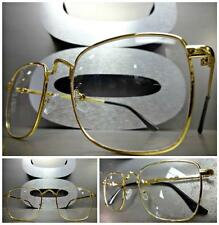 Men's Women VINTAGE RETRO Style Clear Lens EYE GLASSES Square Gold Fashion Frame