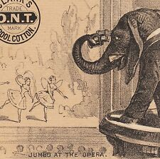 Antique 1882  Jumbo Elephant Fairy Opera Circus Clarks Sewing Thread TRADE CARD