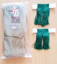 Men Boy Scout Knee Green Tassel Elastic Garter Camp Club Khaki Brown Socks Set
