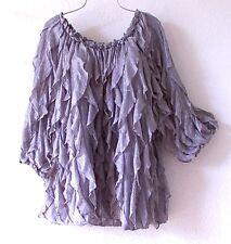NEW~Romantic Gray Layered Ruffle Peasant Blouse Shirt Plus Top~26/28/3X