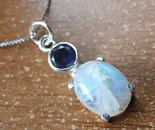 Faceted Iolite and 4-Pronged Rainbow Moonstone Necklace 925 Sterling Silver d29b