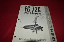 Gehl 72C Flail Chopper Dealer's Parts Book Manual BVPA