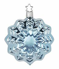 "Inge Glas ""Rosette"" (ice blue) Glass Ornament - Made in Germany (#364)"