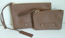 LP by Linea Pelle Dylan 2 Piece Cosmetic Pouch Set Wristlet Coffee Brown Leather