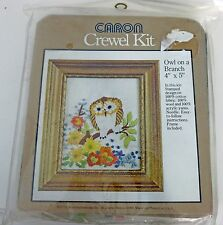 Vintage 1977 Caron OWL On a Branch CREWEL Kit NEW Embroidery Display Frame Owls