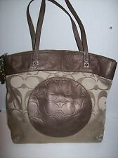 Coach Laura Signature Tote Bag Khaki/Brown Zip Top # F18335 EUC