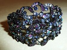 NEW - SILVER CUT OUT GUNPOWDER  BRACELET with PINK & RUBY CRYSTALS