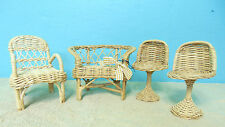 Doll Bear Furniture 2  Bar stools 2 Chairs woven wood light tan color display