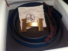 NIB BLEU IZMIR HERMES 42mm REVERSIBLE LEATHER BELT KIT CONSTANCE H BUCKLE 80cm