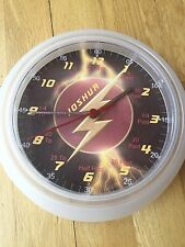 Boys The Flash Teaching Super Hero  Learn To Tell Time Personalised Wall Clock.