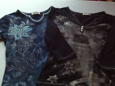 Lot of 2 Blue Canyon Clothing Women's embellished Tops, S